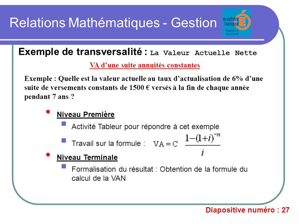 Relations Mathématiques - Gestion Exemple de transversalité : La Valeur Actuelle Nette VA dune suite annuités constantes Exemple : Quelle est la valeu