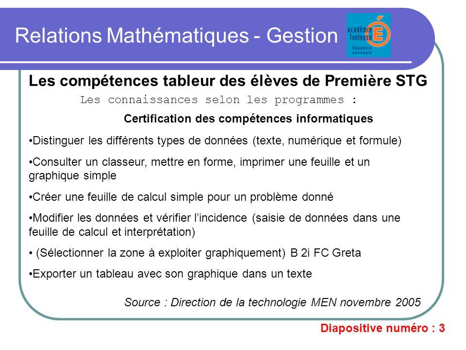 Relations Mathématiques - Gestion Les compétences tableur des élèves de Première STG Les connaissances selon les programmes : Certification des compét