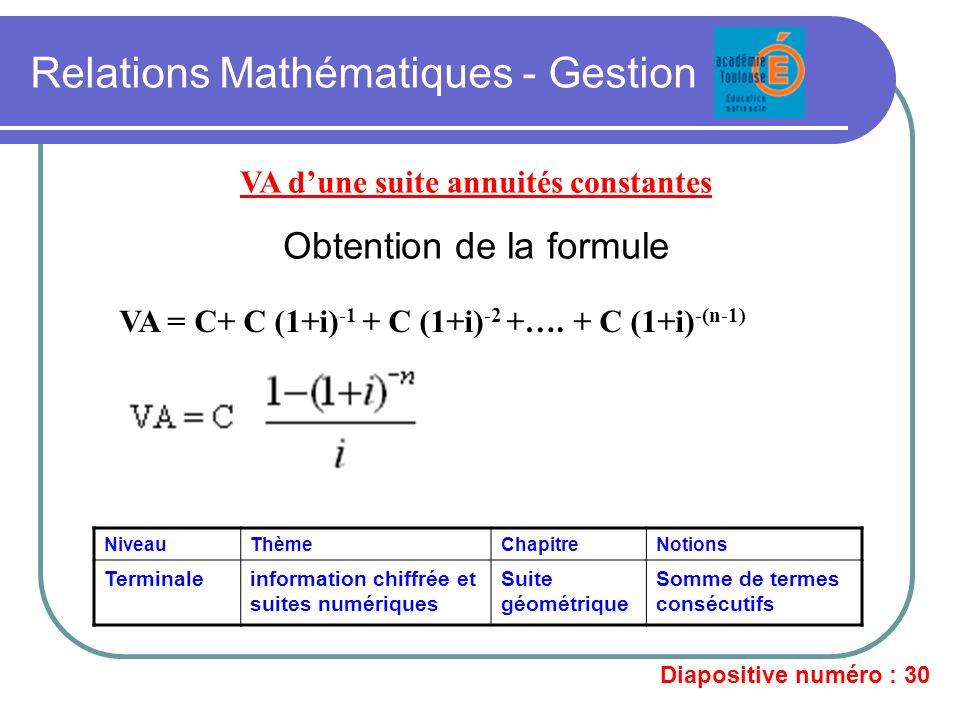 Relations Mathématiques - Gestion VA dune suite annuités constantes Obtention de la formule VA = C+ C (1+i) -1 + C (1+i) -2 +…. + C (1+i) -(n-1) Nivea
