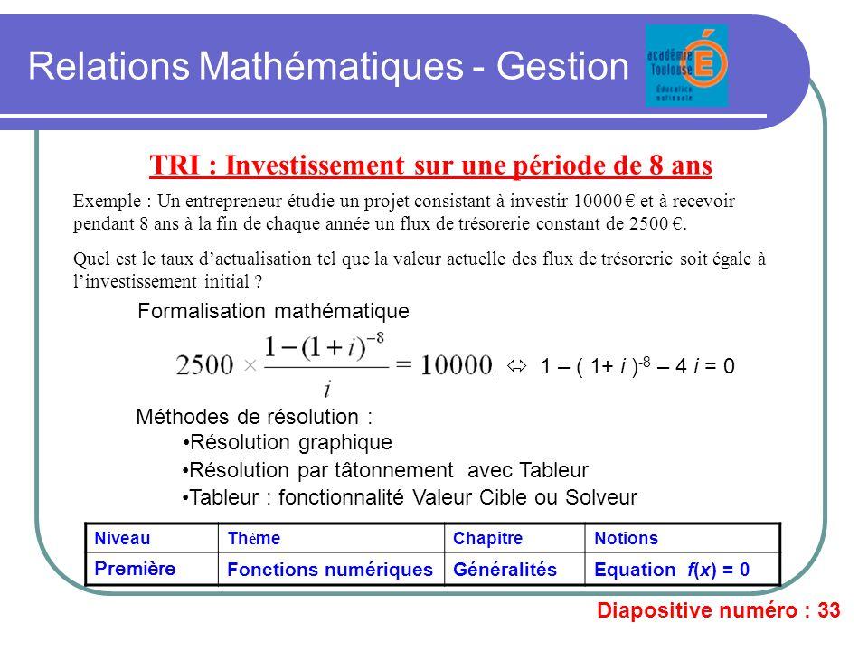 Relations Mathématiques - Gestion TRI : Investissement sur une période de 8 ans Exemple : Un entrepreneur étudie un projet consistant à investir 10000