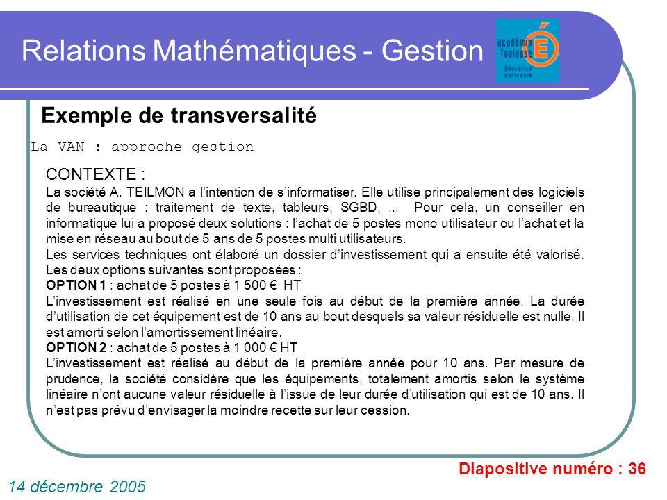 Relations Mathématiques - Gestion La VAN : approche gestion Diapositive numéro : 36 14 décembre 2005 Exemple de transversalité CONTEXTE : La société A