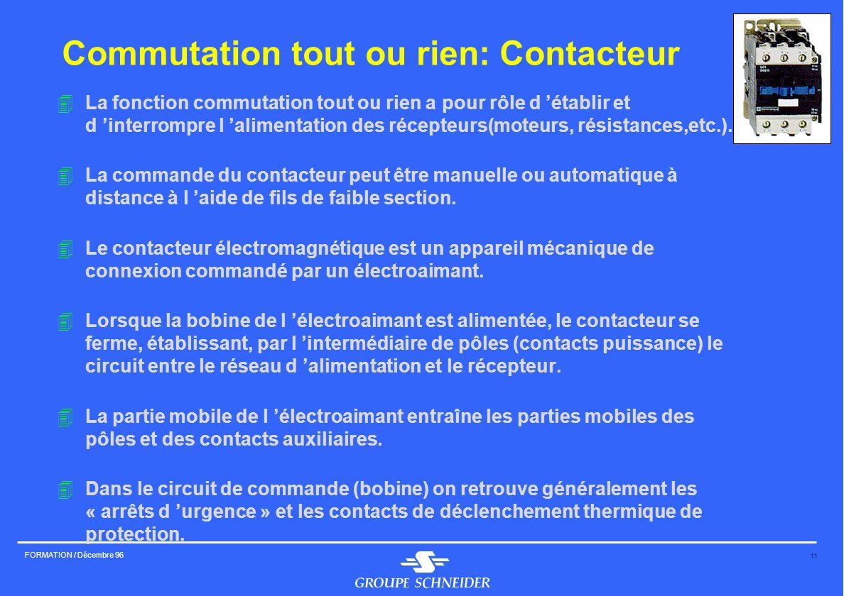 11 FORMATION / Décembre 96 Commutation tout ou rien: Contacteur 4La fonction commutation tout ou rien a pour rôle d établir et d interrompre l aliment