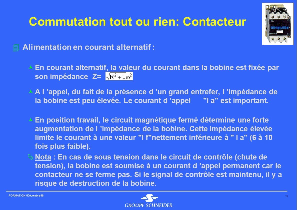 12 FORMATION / Décembre 96 Commutation tout ou rien: Contacteur 4Alimentation en courant alternatif : ©En courant alternatif, la valeur du courant dan