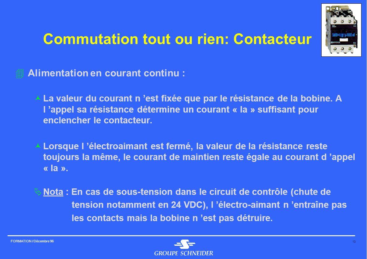 13 FORMATION / Décembre 96 Commutation tout ou rien: Contacteur 4Alimentation en courant continu : ©La valeur du courant n est fixée que par le résist