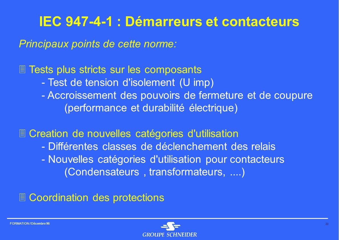20 FORMATION / Décembre 96 IEC 947-4-1 : Démarreurs et contacteurs Principaux points de cette norme: 3 Tests plus stricts sur les composants - Test de