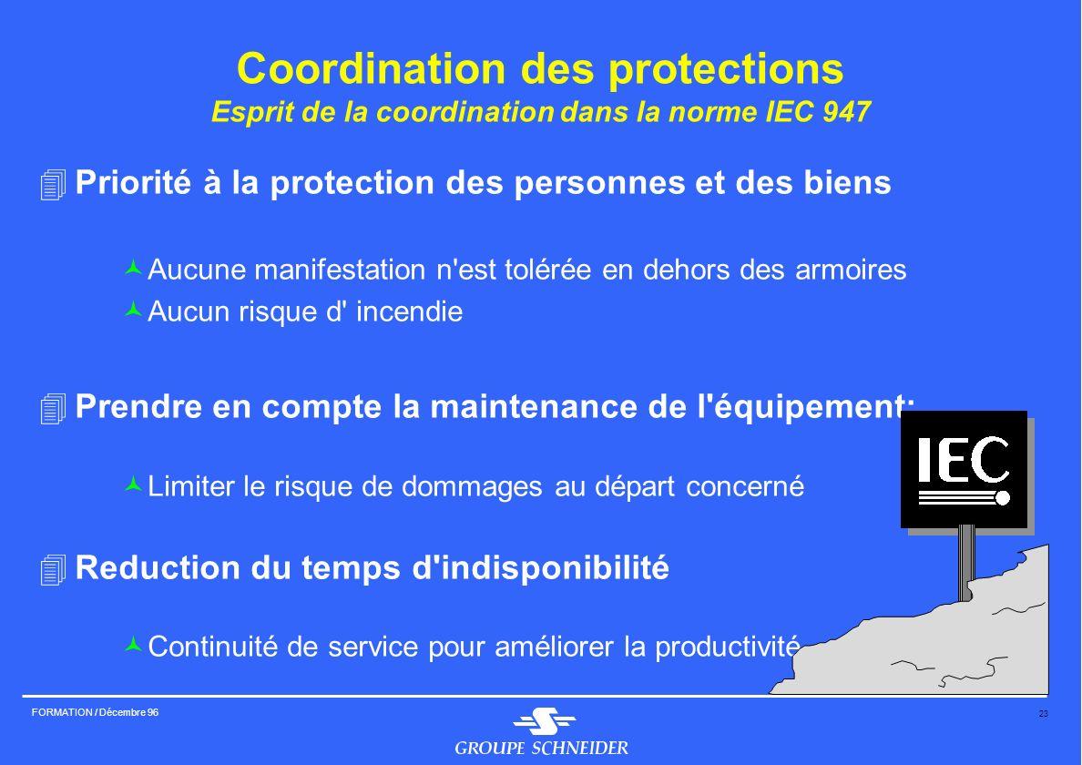 23 FORMATION / Décembre 96 Coordination des protections Esprit de la coordination dans la norme IEC 947 4Priorité à la protection des personnes et des