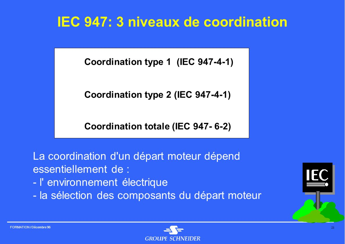 28 FORMATION / Décembre 96 IEC 947: 3 niveaux de coordination 4Coordination type 1 (IEC 947-4-1) 4Coordination type 2 (IEC 947-4-1) 4Coordination tota