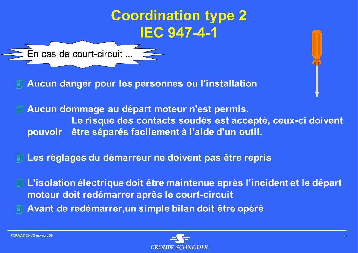 30 FORMATION / Décembre 96 Coordination type 2 IEC 947-4-1 4Aucun danger pour les personnes ou l'installation 4Aucun dommage au départ moteur n'est pe