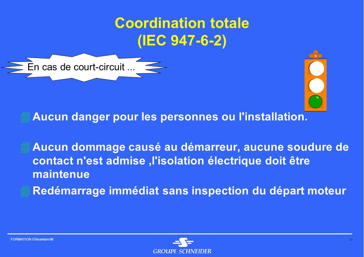 31 FORMATION / Décembre 96 Coordination totale (IEC 947-6-2) 4Aucun danger pour les personnes ou l'installation. 4Aucun dommage causé au démarreur, au
