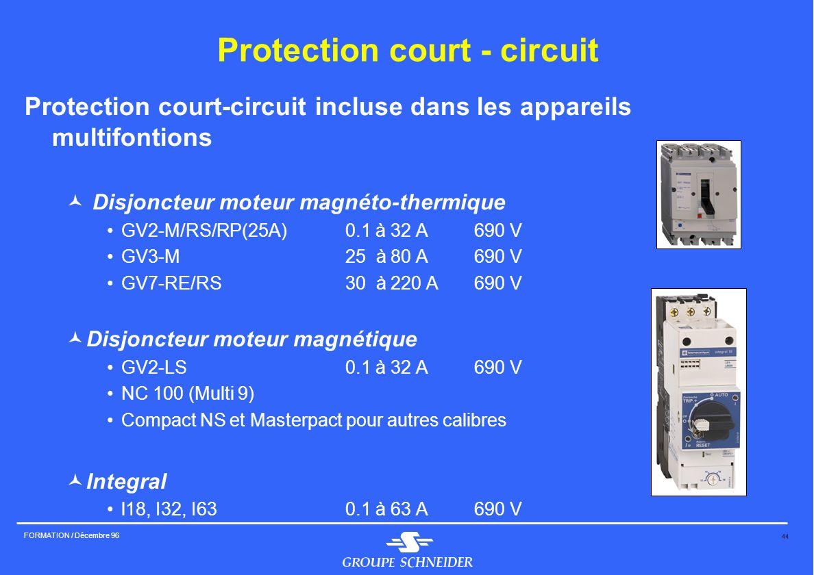 44 FORMATION / Décembre 96 Protection court-circuit incluse dans les appareils multifontions © Disjoncteur moteur magnéto-thermique GV2-M/RS/RP(25A)0.