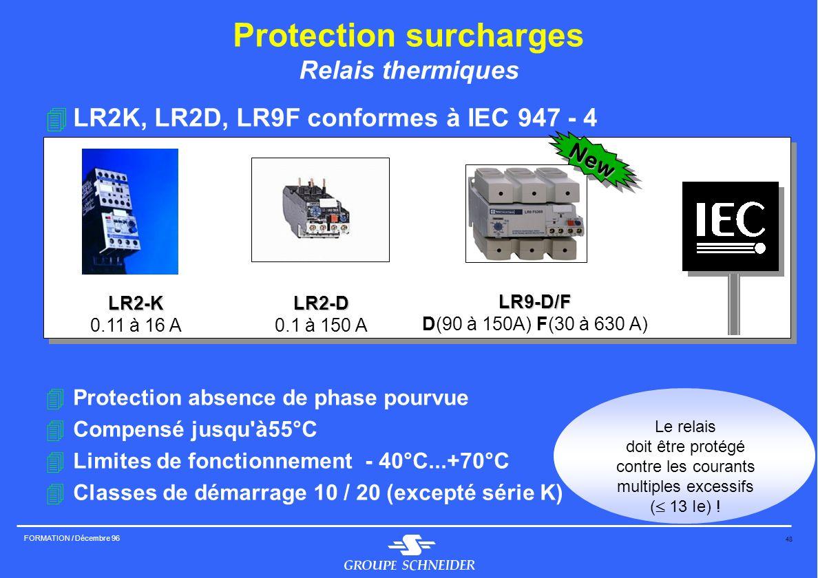48 FORMATION / Décembre 96 Protection surcharges Relais thermiques 4LR2K, LR2D, LR9F conformes à IEC 947 - 4 4Protection absence de phase pourvue 4Com
