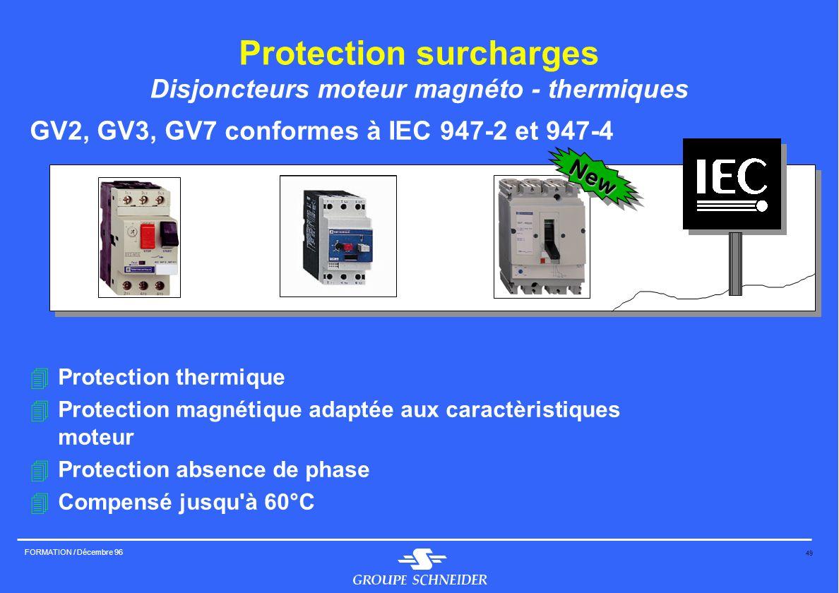 49 FORMATION / Décembre 96 Protection surcharges Disjoncteurs moteur magnéto - thermiques GV2, GV3, GV7 conformes à IEC 947-2 et 947-4 4Protection the
