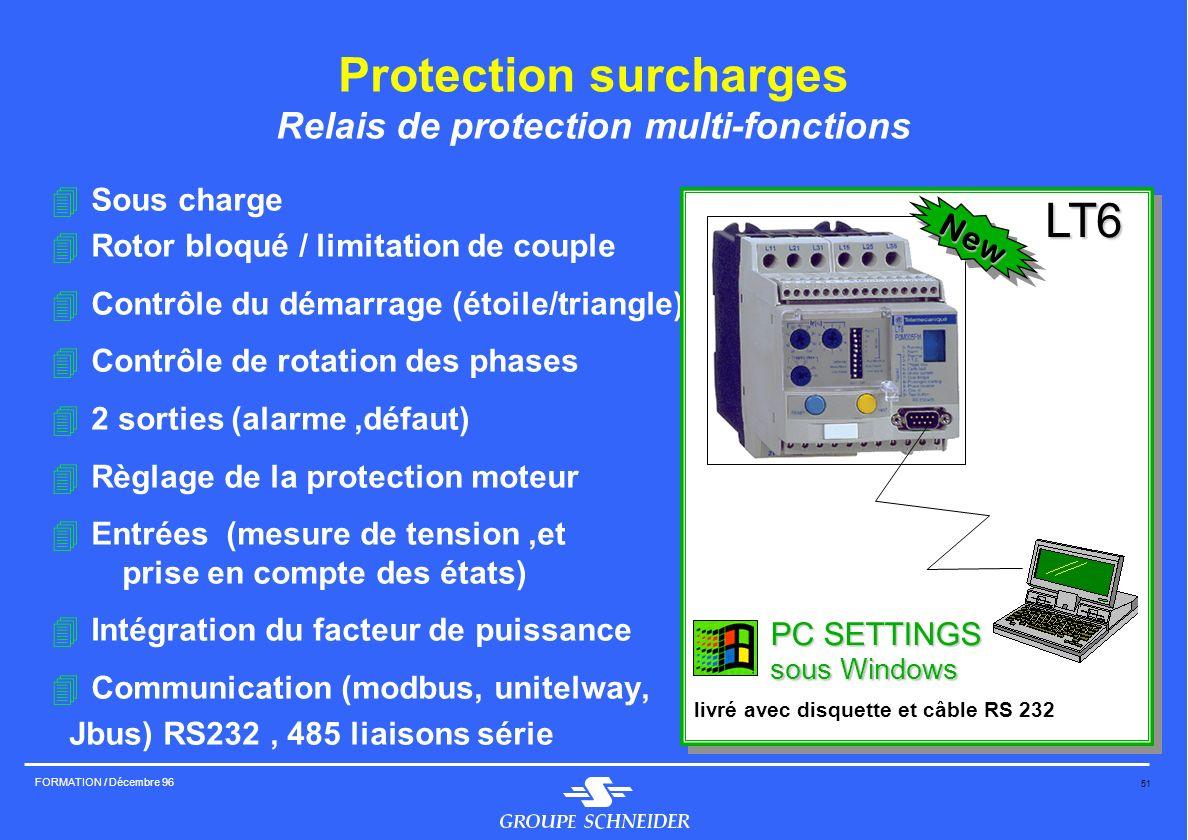 51 FORMATION / Décembre 96 Protection surcharges Relais de protection multi-fonctions 4Sous charge 4Rotor bloqué / limitation de couple 4Contrôle du d