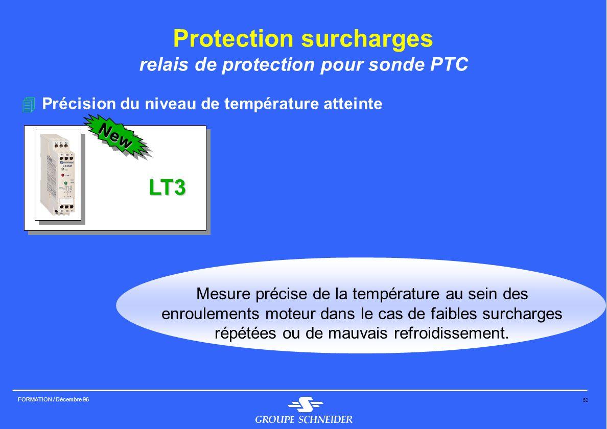 52 FORMATION / Décembre 96 Protection surcharges relais de protection pour sonde PTC 4Précision du niveau de température atteinte LT3 New Mesure préci