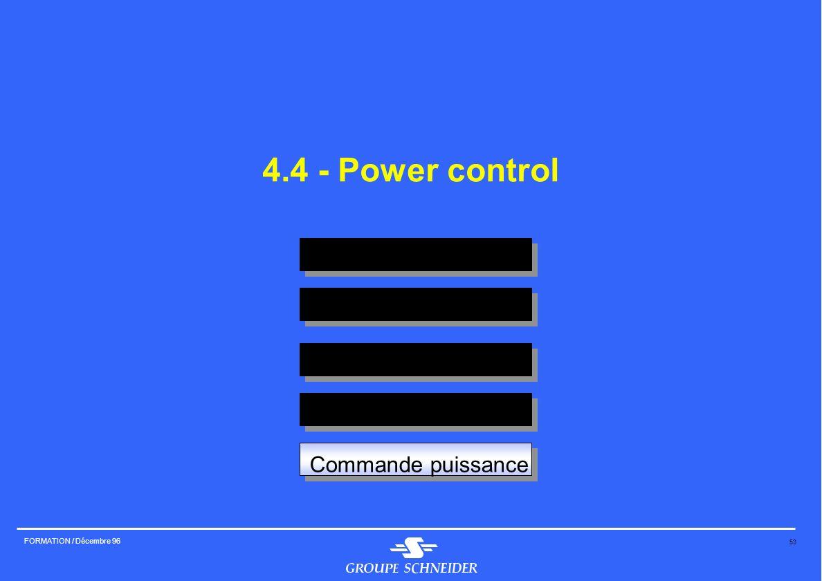 53 FORMATION / Décembre 96 Isolement Sectionnement Protection court circuit Protection surcharge Commande puissance 4.4 - Power control