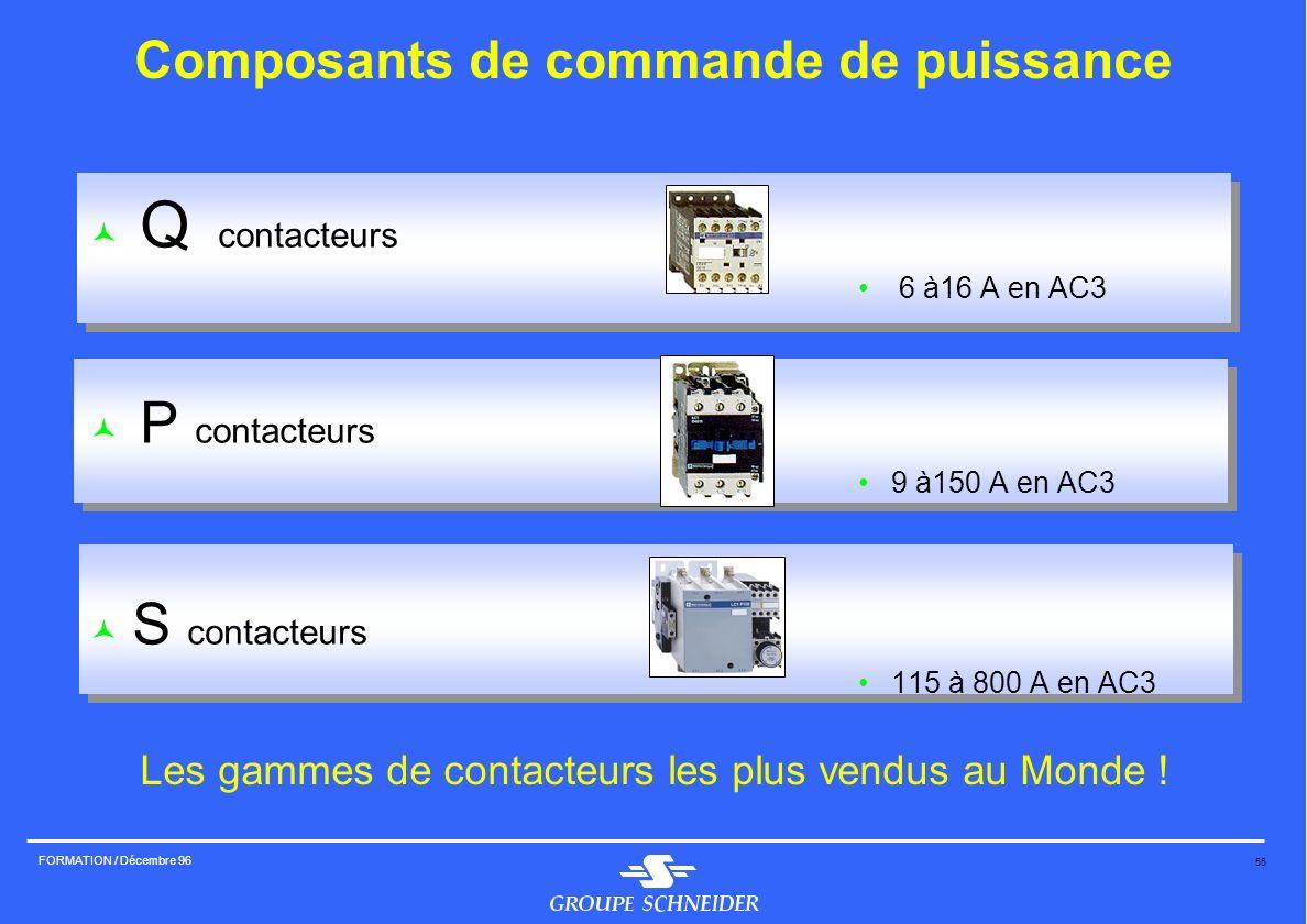 55 FORMATION / Décembre 96 Q contacteurs 6 à16 A en AC3 P contacteurs 9 à150 A en AC3 S contacteurs 115 à 800 A en AC3 Composants de commande de puiss