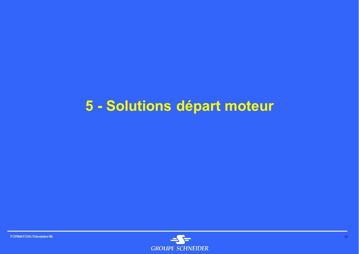 58 FORMATION / Décembre 96 5 - Solutions départ moteur