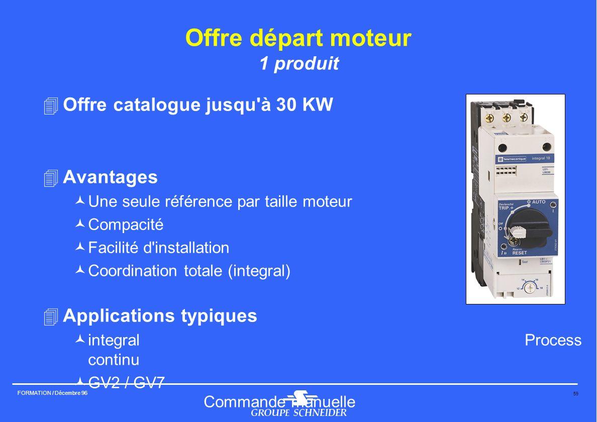 59 FORMATION / Décembre 96 Offre départ moteur 1 produit 4Offre catalogue jusqu'à 30 KW 4Avantages ©Une seule référence par taille moteur ©Compacité ©