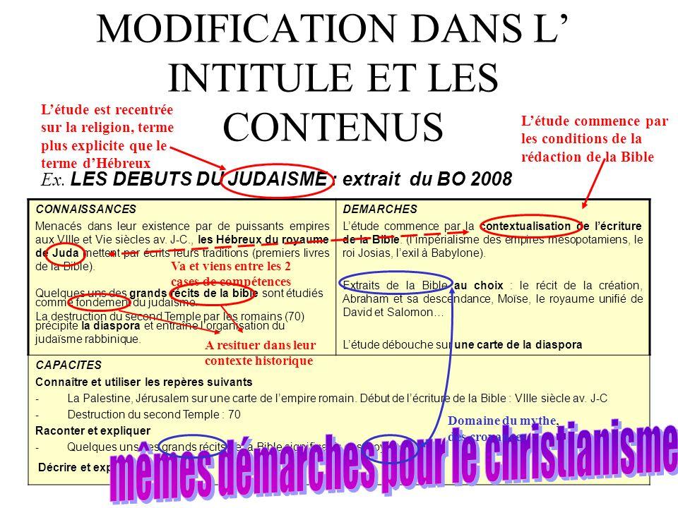 MODIFICATION DANS L INTITULE ET LES CONTENUS Ex. LES DEBUTS DU JUDAISME : extrait du BO 2008 CONNAISSANCES Menacés dans leur existence par de puissant