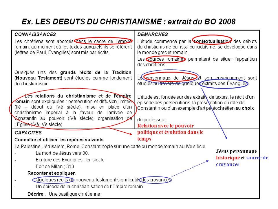 Ex. LES DEBUTS DU CHRISTIANISME : extrait du BO 2008 CONNAISSANCES. Les chrétiens sont abordés dans le cadre de lempire romain, au moment où les texte