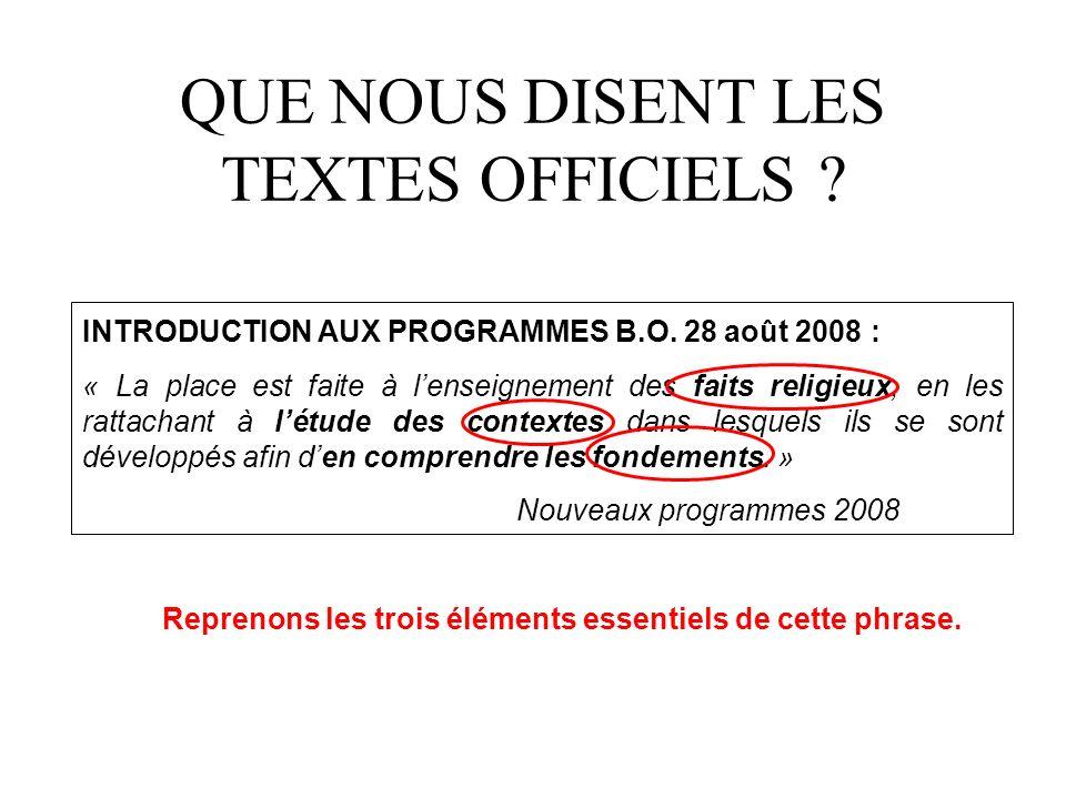 QUE NOUS DISENT LES TEXTES OFFICIELS .INTRODUCTION AUX PROGRAMMES B.O.