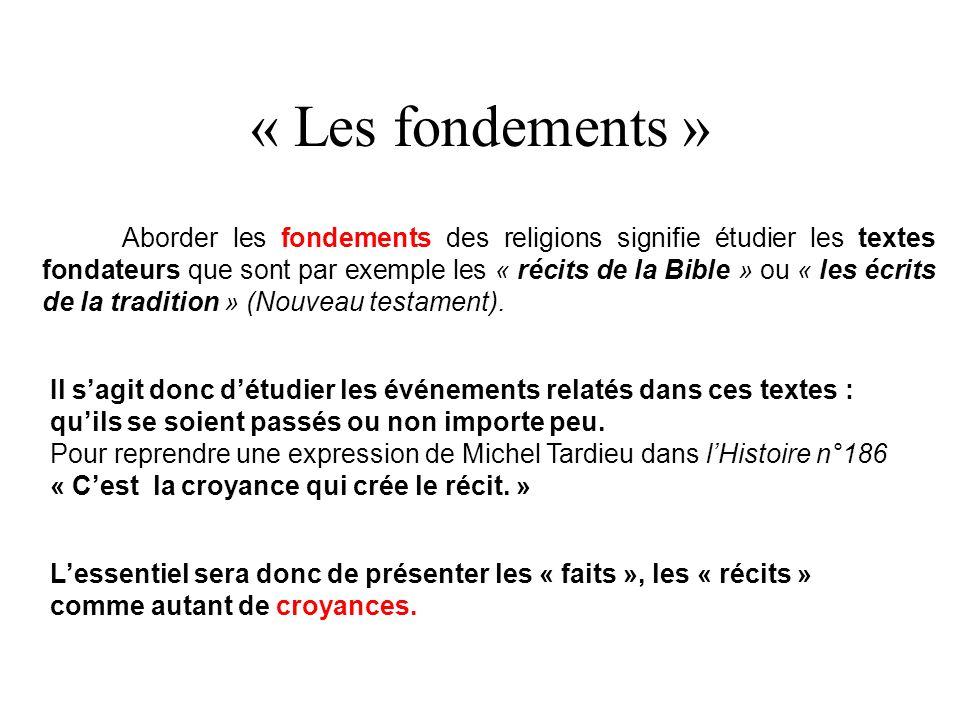 « Les fondements » Aborder les fondements des religions signifie étudier les textes fondateurs que sont par exemple les « récits de la Bible » ou « les écrits de la tradition » (Nouveau testament).
