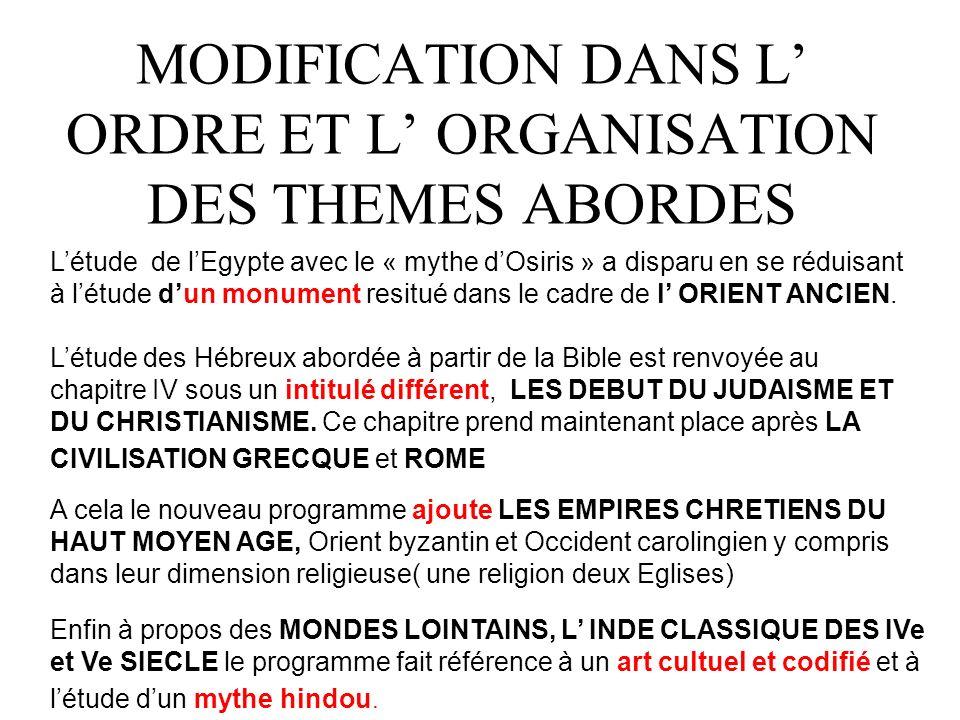 MODIFICATION DANS L ORDRE ET L ORGANISATION DES THEMES ABORDES Létude de lEgypte avec le « mythe dOsiris » a disparu en se réduisant à létude dun monument resitué dans le cadre de l ORIENT ANCIEN.
