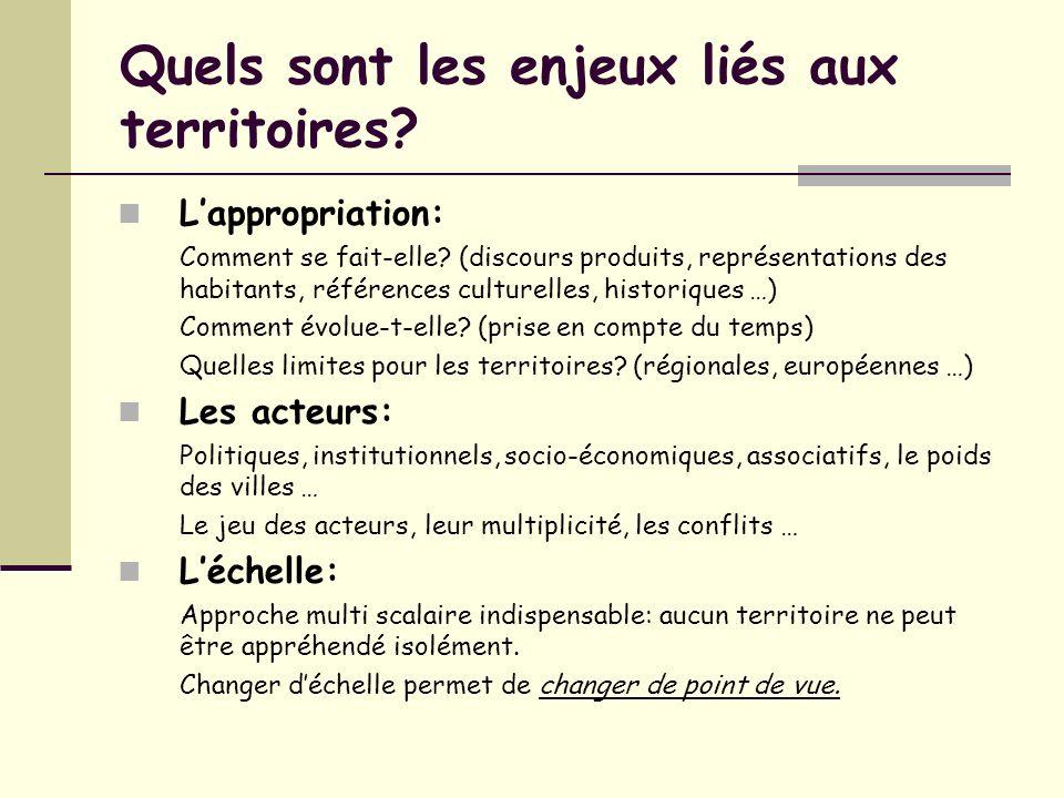Les « nouveaux territoires » dans les programmes Programme de 4 ème : Laménagement du territoire (2 à 3 heures).