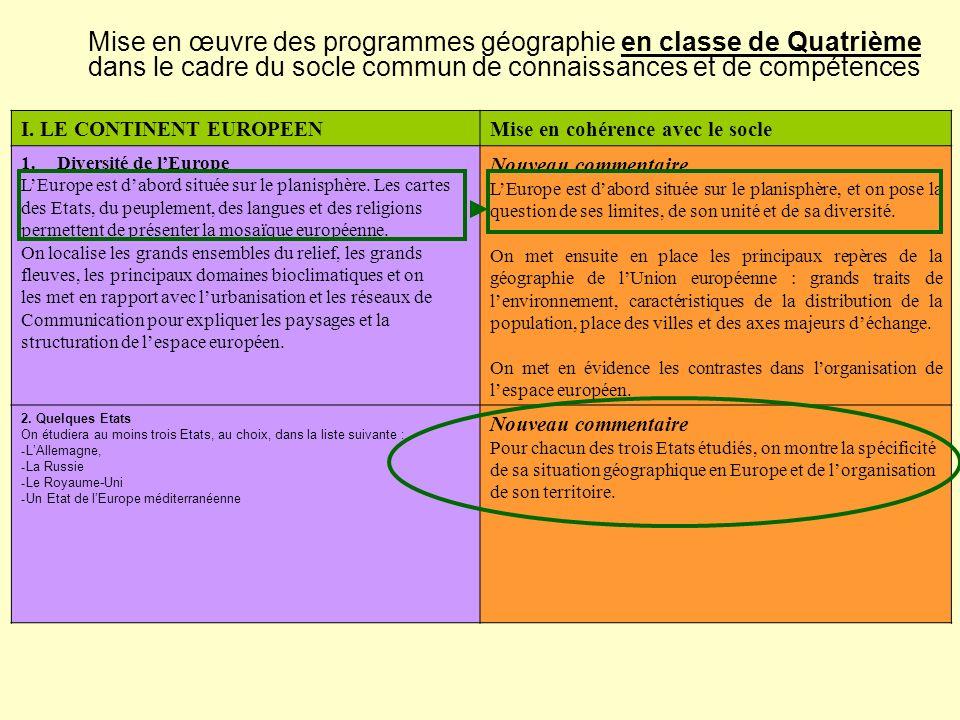 Mise en œuvre des programmes géographie en classe de Quatrième dans le cadre du socle commun de connaissances et de compétences I. LE CONTINENT EUROPE
