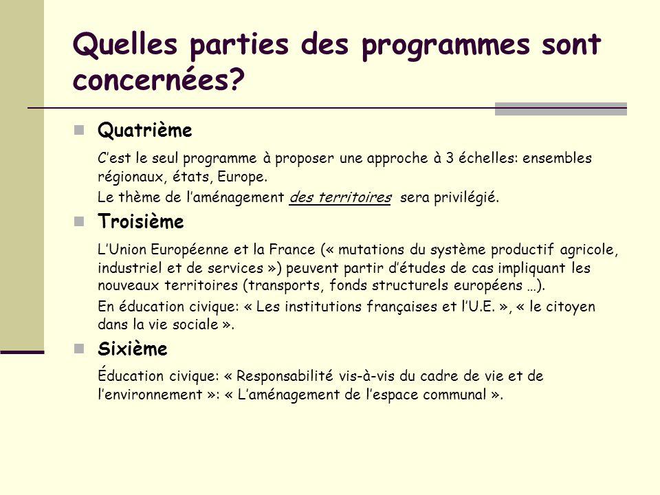 Quelles parties des programmes sont concernées? Quatrième Cest le seul programme à proposer une approche à 3 échelles: ensembles régionaux, états, Eur