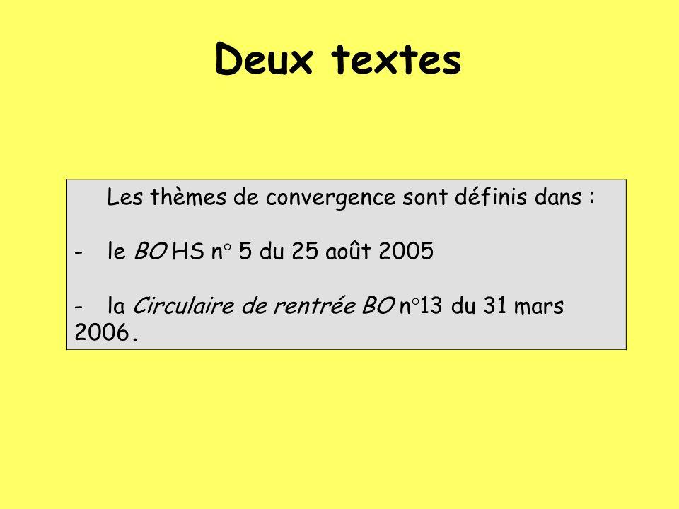 Les thèmes de convergence sont définis dans : -le BO HS n° 5 du 25 août 2005 -la Circulaire de rentrée BO n°13 du 31 mars 2006.