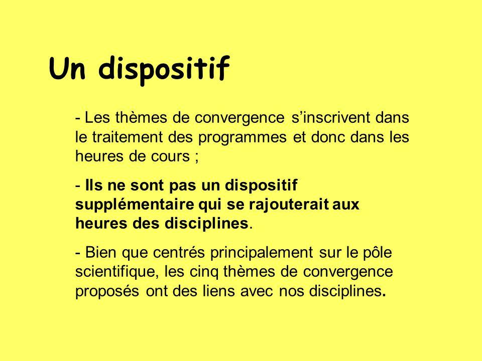 - Les thèmes de convergence sinscrivent dans le traitement des programmes et donc dans les heures de cours ; - Ils ne sont pas un dispositif supplémentaire qui se rajouterait aux heures des disciplines.