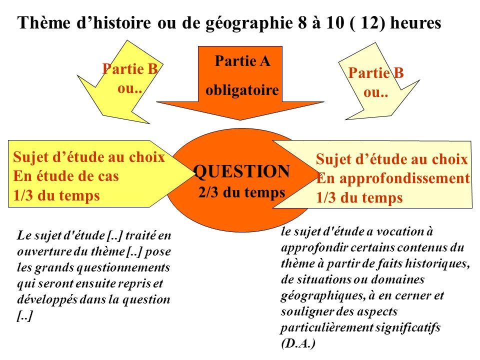 QUESTION 2/3 du temps Partie A obligatoire Thème dhistoire ou de géographie 8 à 10 ( 12) heures Partie B ou.. Sujet détude au choix En étude de cas 1/