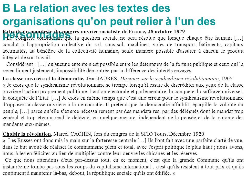 B La relation avec les textes des organisations quon peut relier à lun des personnages Extraits du manifeste du congrès ouvrier socialiste de France,
