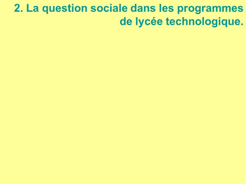 2. La question sociale dans les programmes de lycée technologique.