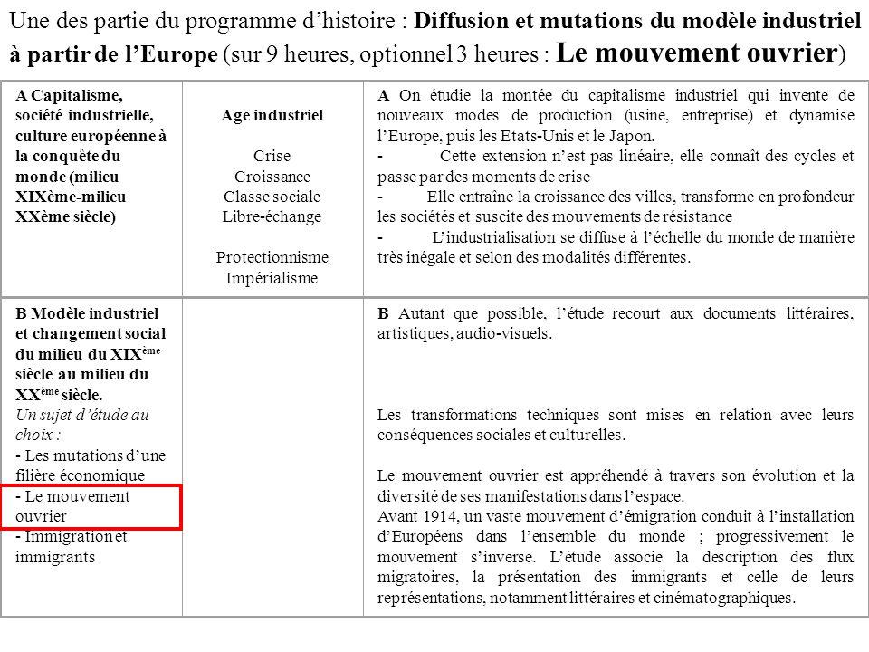 Une des partie du programme dhistoire : Diffusion et mutations du modèle industriel à partir de lEurope (sur 9 heures, optionnel 3 heures : Le mouveme