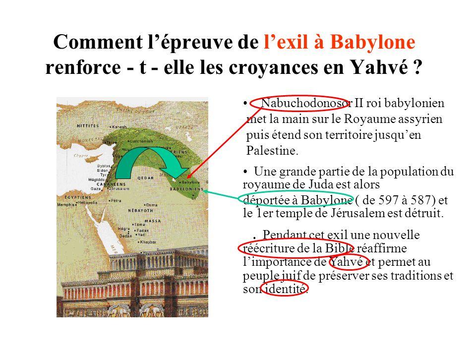 Comment lépreuve de lexil à Babylone renforce - t - elle les croyances en Yahvé .