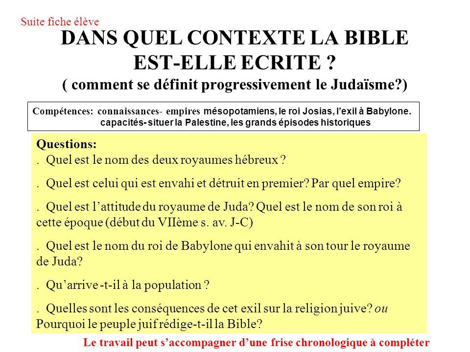 DANS QUEL CONTEXTE LA BIBLE EST-ELLE ECRITE .