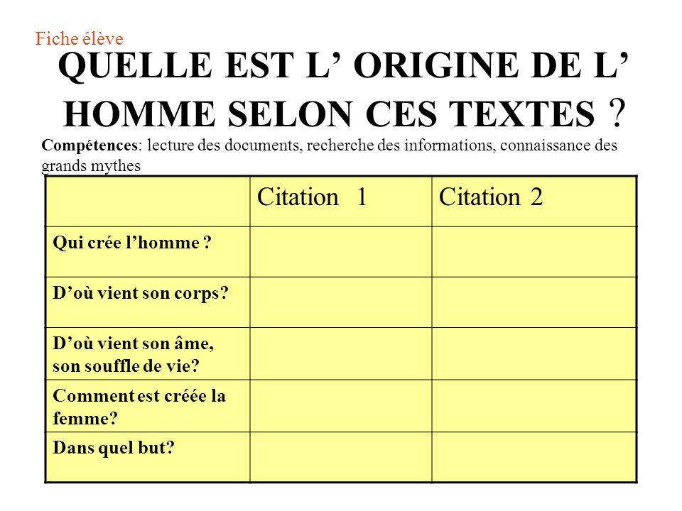 QUELLE EST L ORIGINE DE L HOMME SELON CES TEXTES .