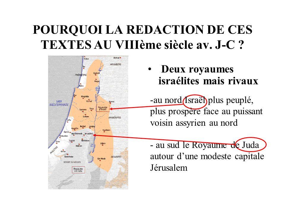 POURQUOI LA REDACTION DE CES TEXTES AU VIIIème siècle av.
