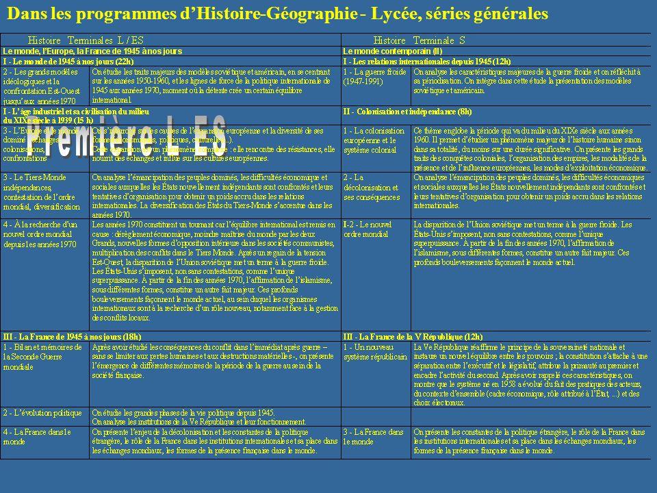Dans les programmes dHistoire-Géographie - Lycée, séries générales