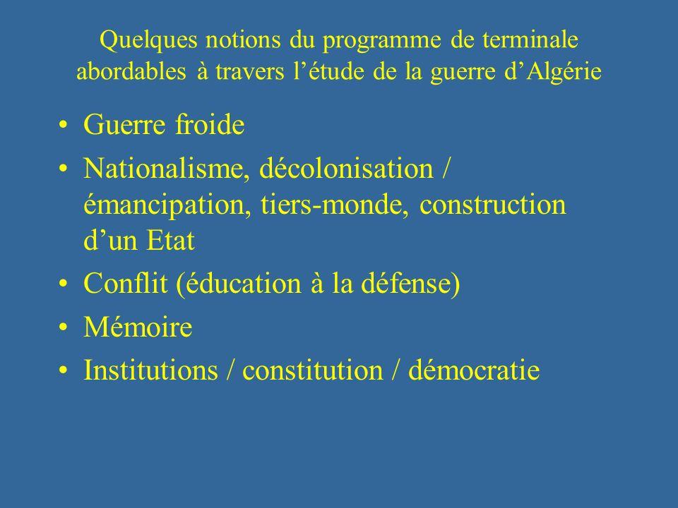 Quelques notions du programme de terminale abordables à travers létude de la guerre dAlgérie Guerre froide Nationalisme, décolonisation / émancipation