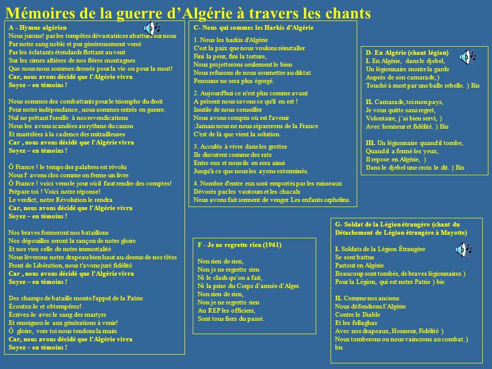 Mémoires de la guerre dAlgérie à travers les chants A - Hymne algérien Nous jurons! par les tempêtes dévastatrices abattues sur nous Par notre sang no