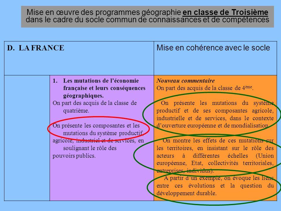 Mise en œuvre des programmes géographie en classe de Troisième dans le cadre du socle commun de connaissances et de compétences D. LA FRANCE Mise en c
