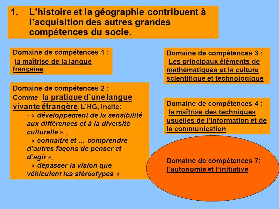 1.Lhistoire et la géographie contribuent à lacquisition des autres grandes compétences du socle. Domaine de compétences 2 : Comme la pratique dune lan