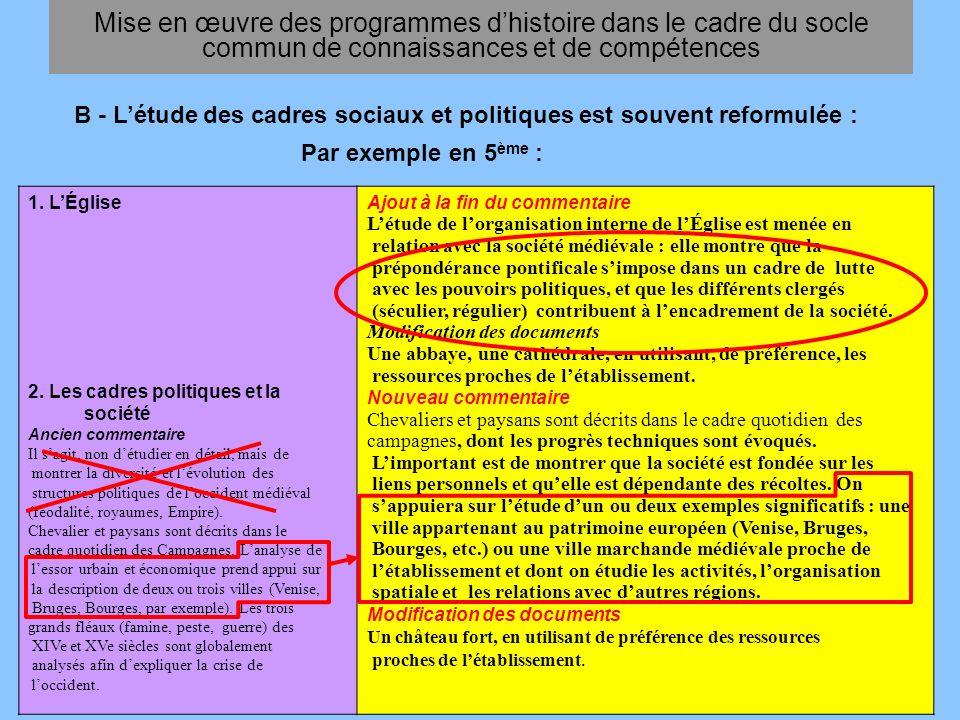 En 4 ème : Mise en œuvre des programmes dhistoire dans le cadre du socle commun de connaissances et de compétences I.