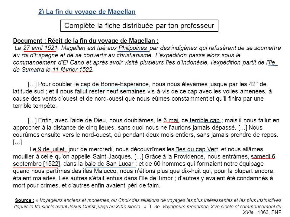 2) La fin du voyage de Magellan Document : Récit de la fin du voyage de Magellan : Le 27 avril 1521, Magellan est tué aux Philippines par des indigène