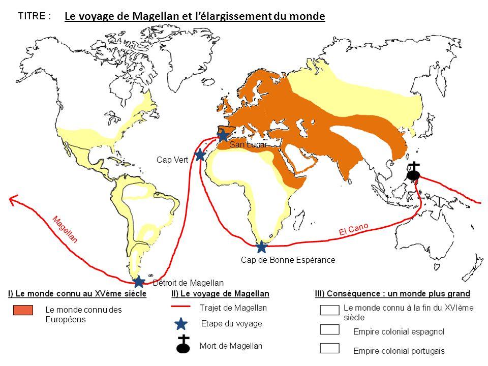 Le monde connu des Européens Magellan El Cano Détroit de Magellan Cap de Bonne Espérance Cap Vert San Lucar Le voyage de Magellan et lélargissement du