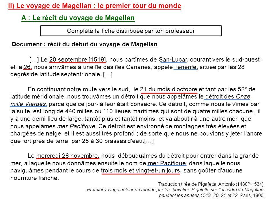 II) Le voyage de Magellan : le premier tour du monde A : Le récit du voyage de Magellan Complète la fiche distribuée par ton professeur Document : réc