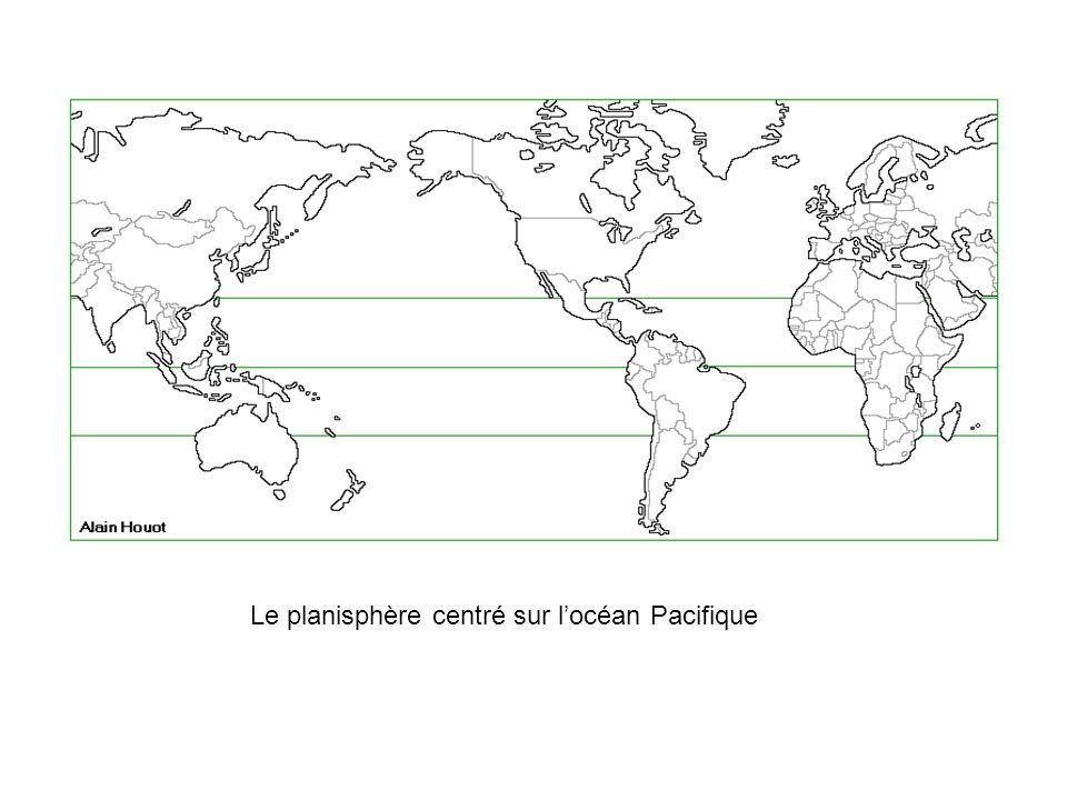 Le planisphère centré sur locéan Pacifique